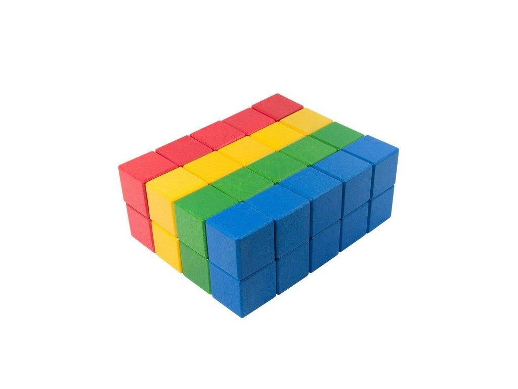 Velké dřevěné kostky 5 cm (4 barvy) - 40 ks