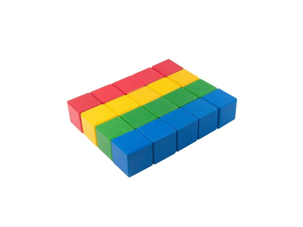 Velké dřevěné kostky 5 cm (4 barvy) - 20 ks