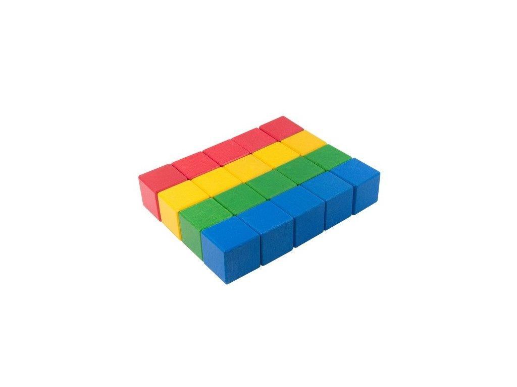 Dřevěné kostky 4 cm (4 barvy) - 20 ks