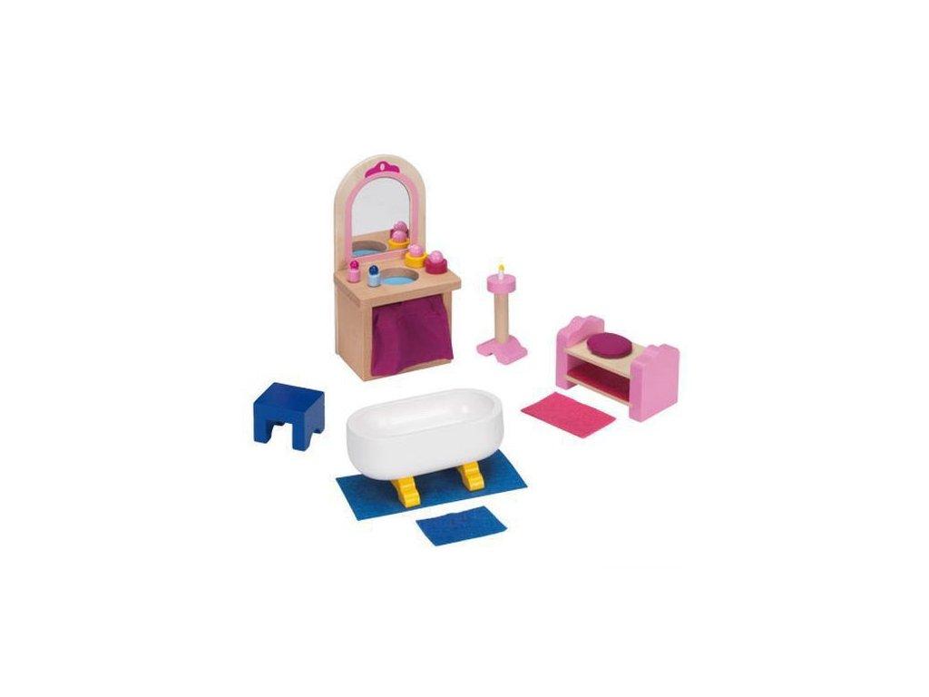 Zámek – nábytek pro panenky koupelna, 17 dílů