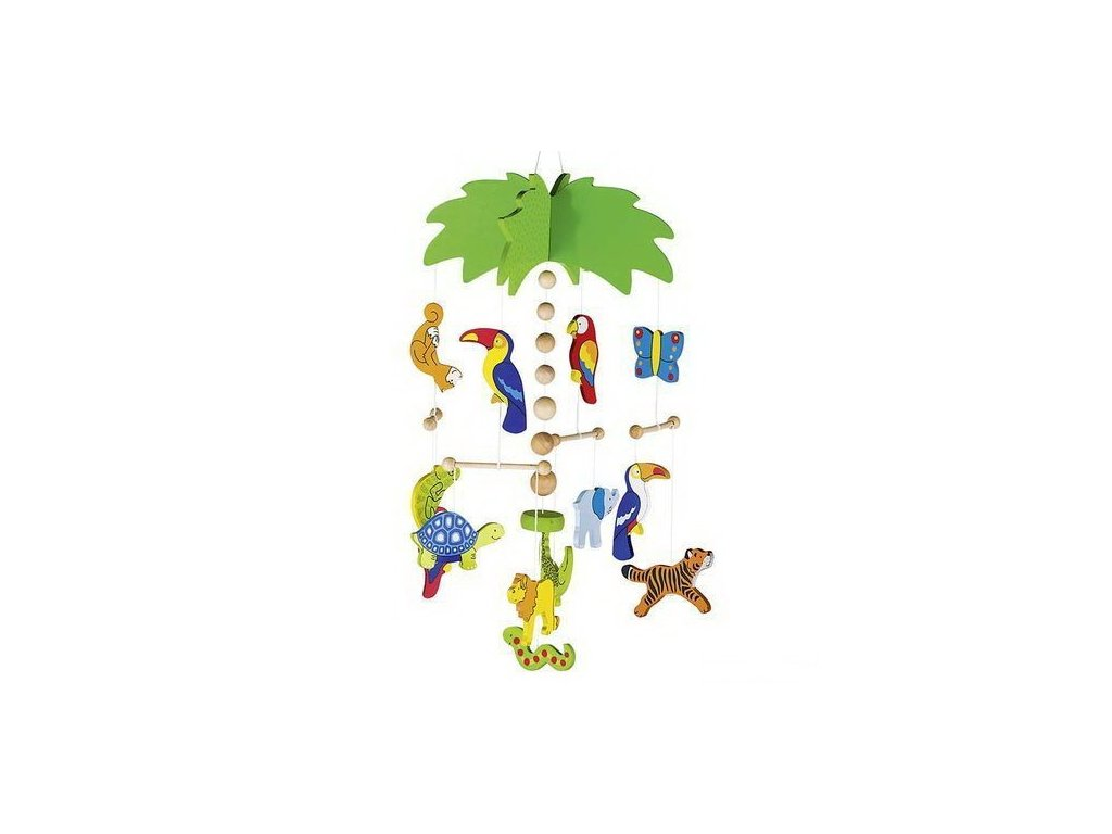 Palma a exotická zvířátka – závěsný dřevěný kolotoč