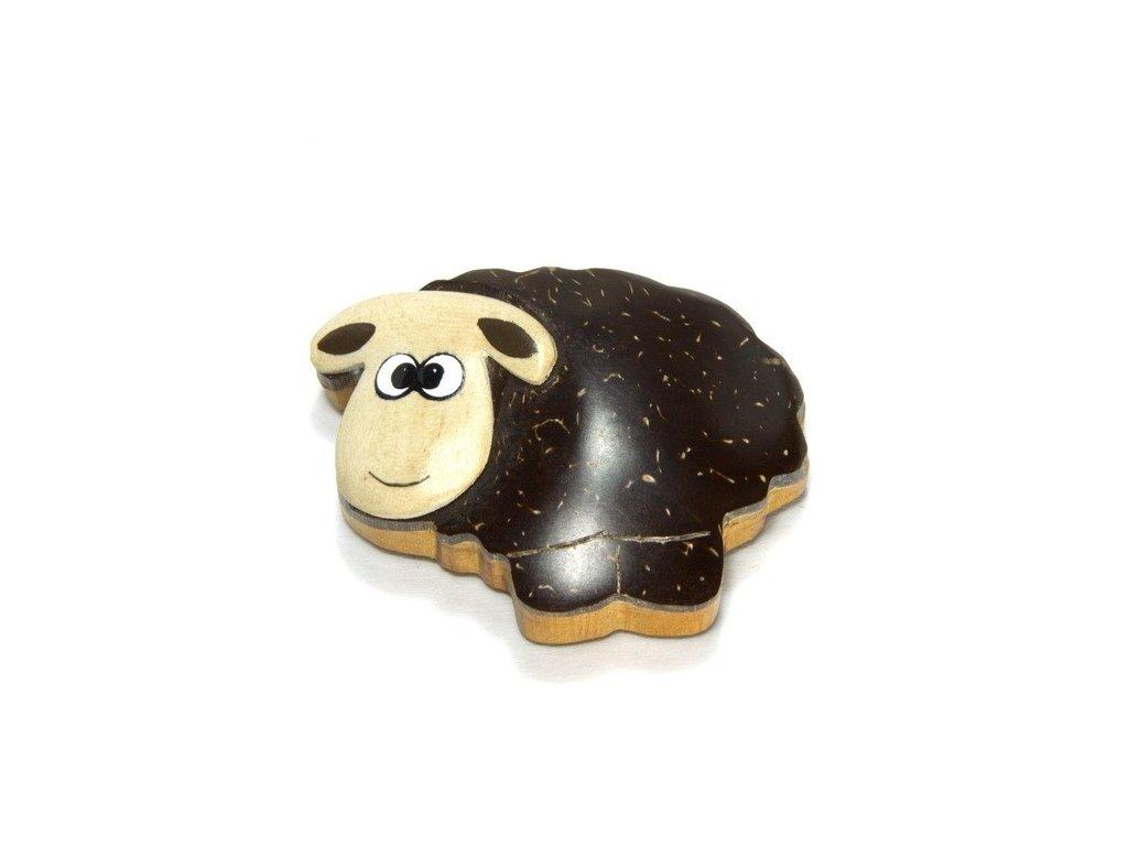 Ovečka - magnetka kokosové dřevo