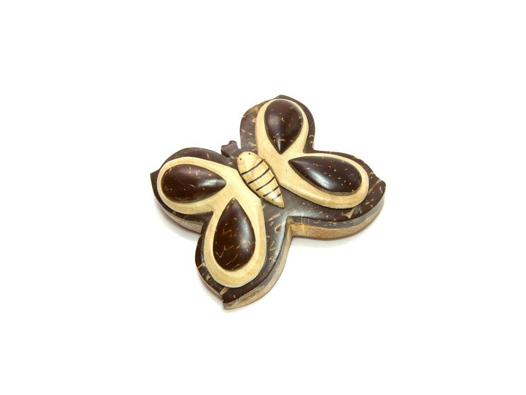 Motýl - magnetka kokosové dřevo