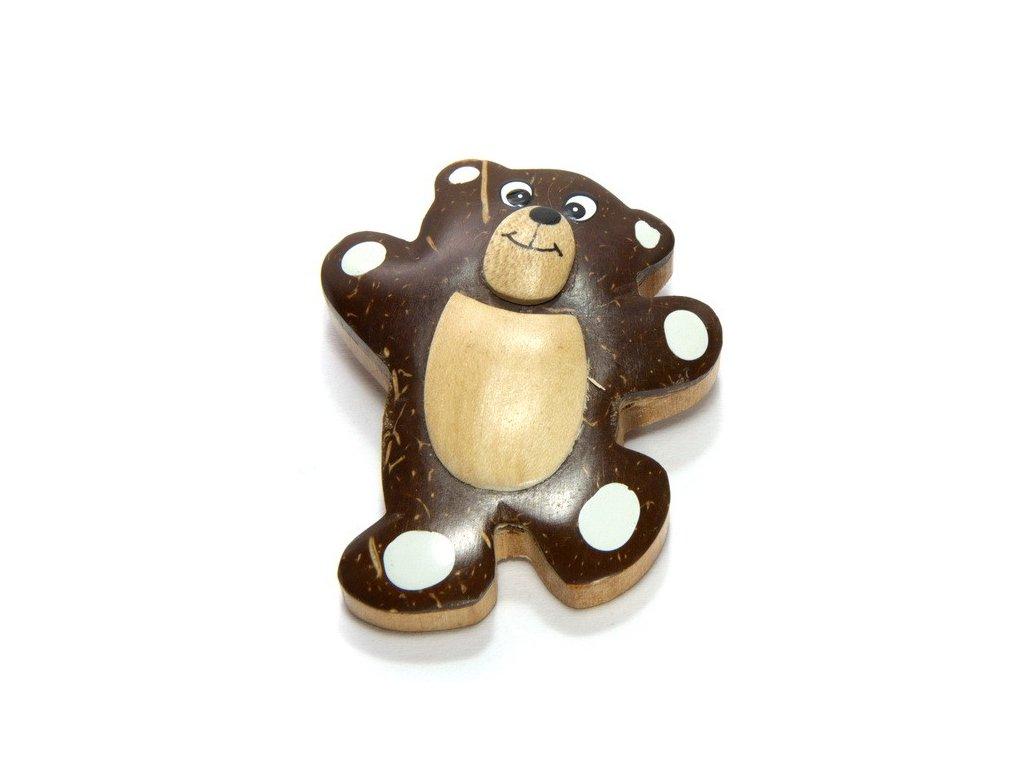 Medvěd - magnetka kokosové dřevo