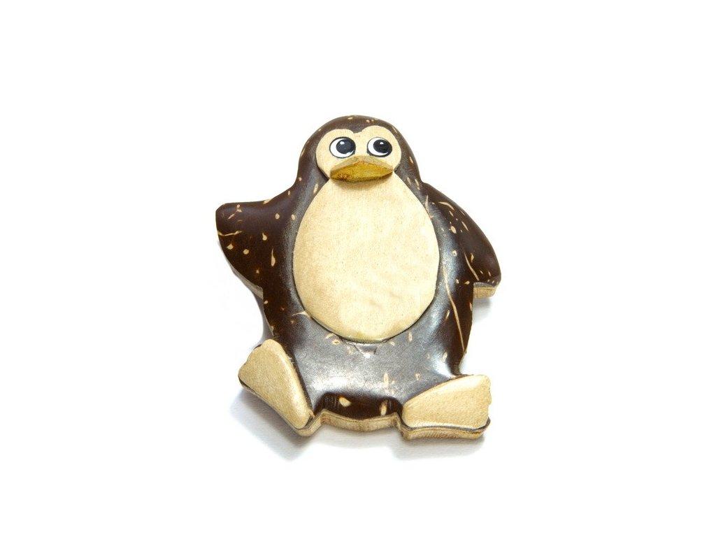 Tučňák - magnetka kokosové dřevo