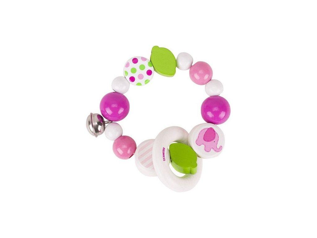 Růžové slůně – elastický kroužek s rolničkou