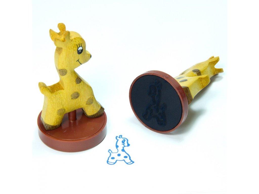 Žirafa - razítko z tropického dřeva
