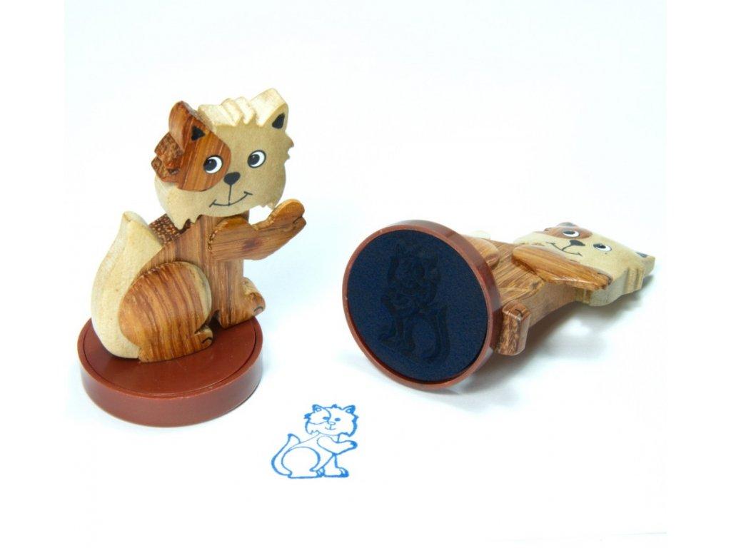 Kočička - razítko z tropického dřeva
