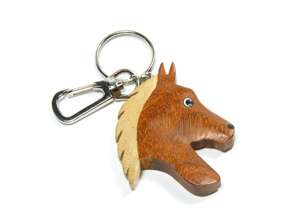 Kůň - přívěsek z tropického dřeva