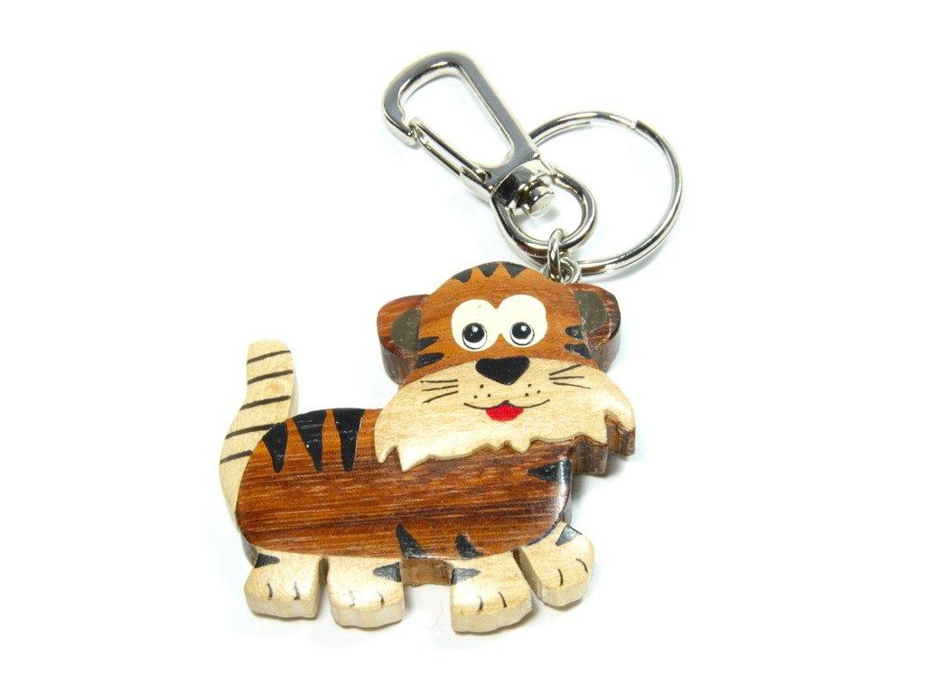 Tygr - přívěsek z tropického dřeva