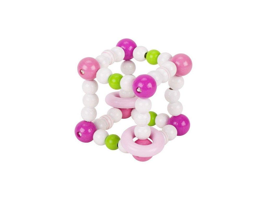 Růžová kostka s kroužky – hračka pro miminka