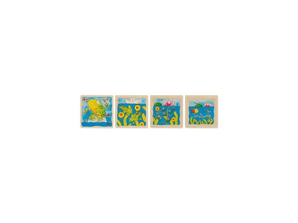 Žába – vývojové vrstvené puzzle ze dřeva, 4 vrstvy, 44 díly