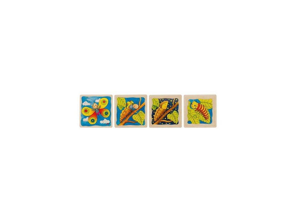 Housenka – vývojové vrstvené puzzle ze dřeva, 4 vrstvy, 44 díly