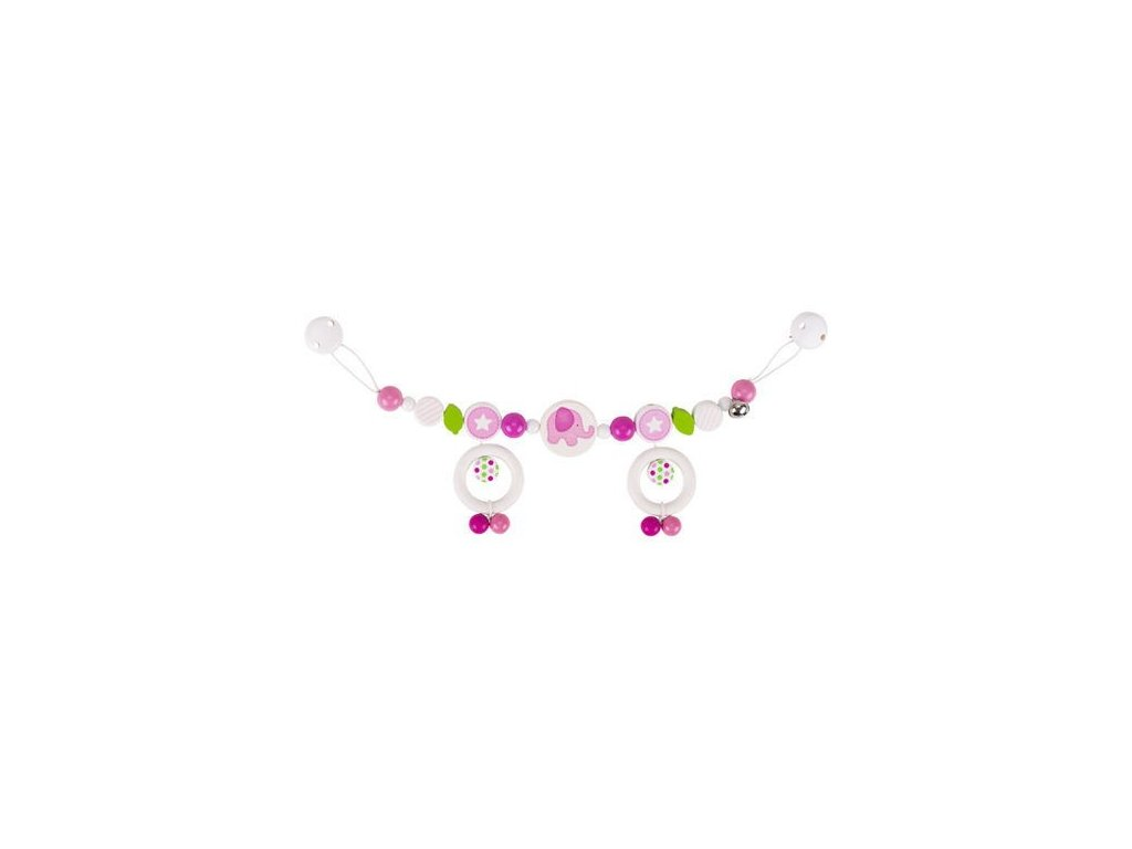 Růžové slůně – řetěz do kočárku