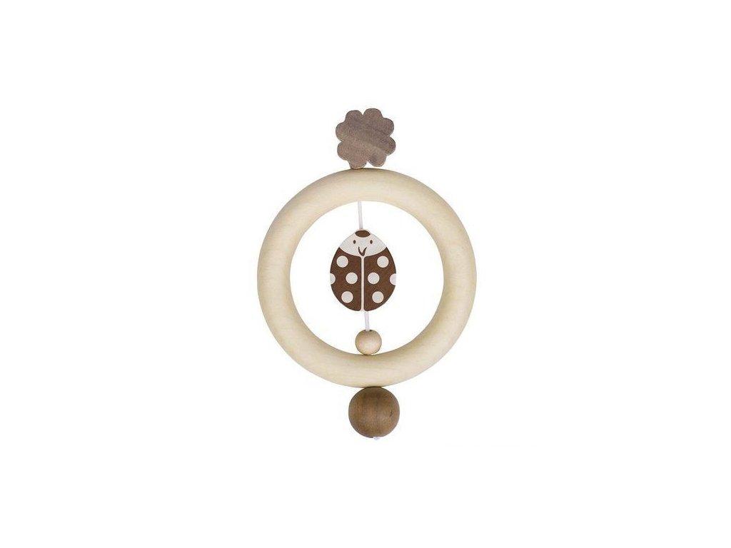 Beruška a čtyřlístek – dřevěný kroužek do ruky