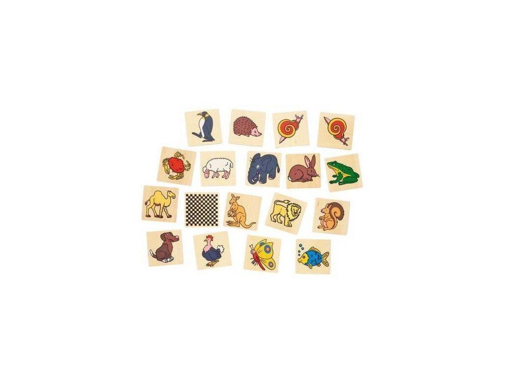 Dřevěné pexeso – Zvířátka, 32 díly