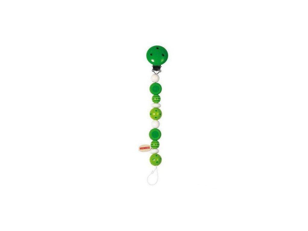 Zelené perličky s proužky a puntíky – dřevěná šňůra na dudlík
