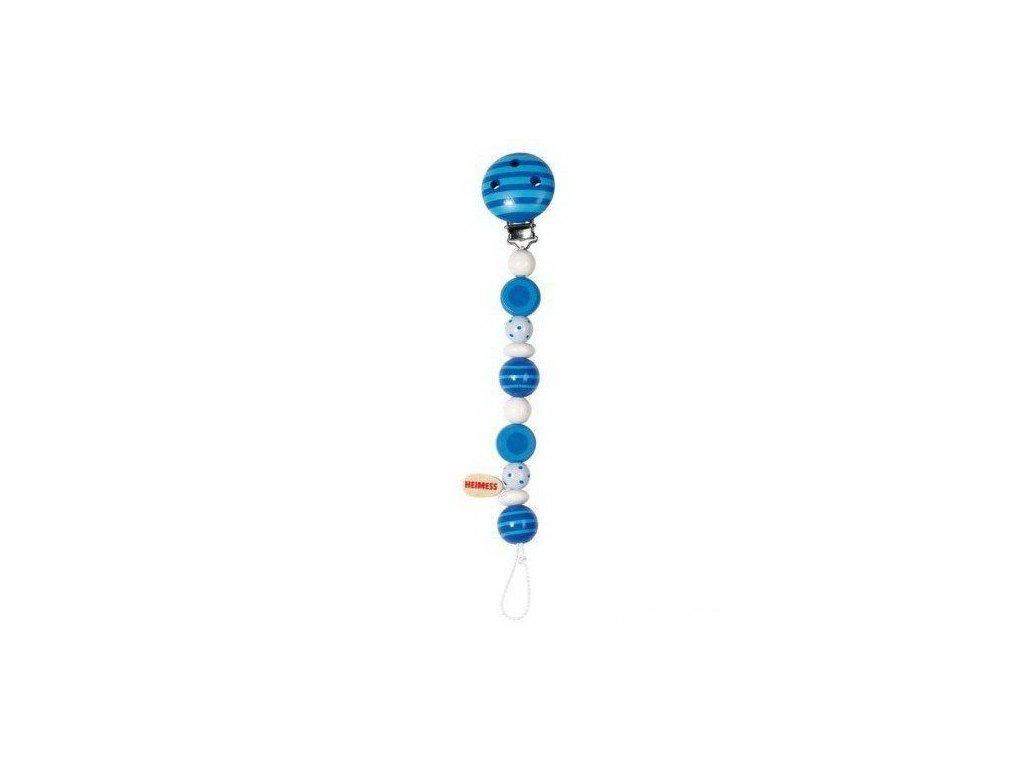 Modré perličky s proužky a puntíky – dřevěná šňůra na dudlík