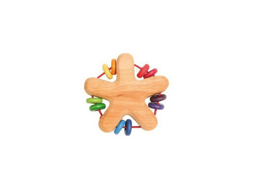Dřevěné chrastítko hvězda - duhové kroužky