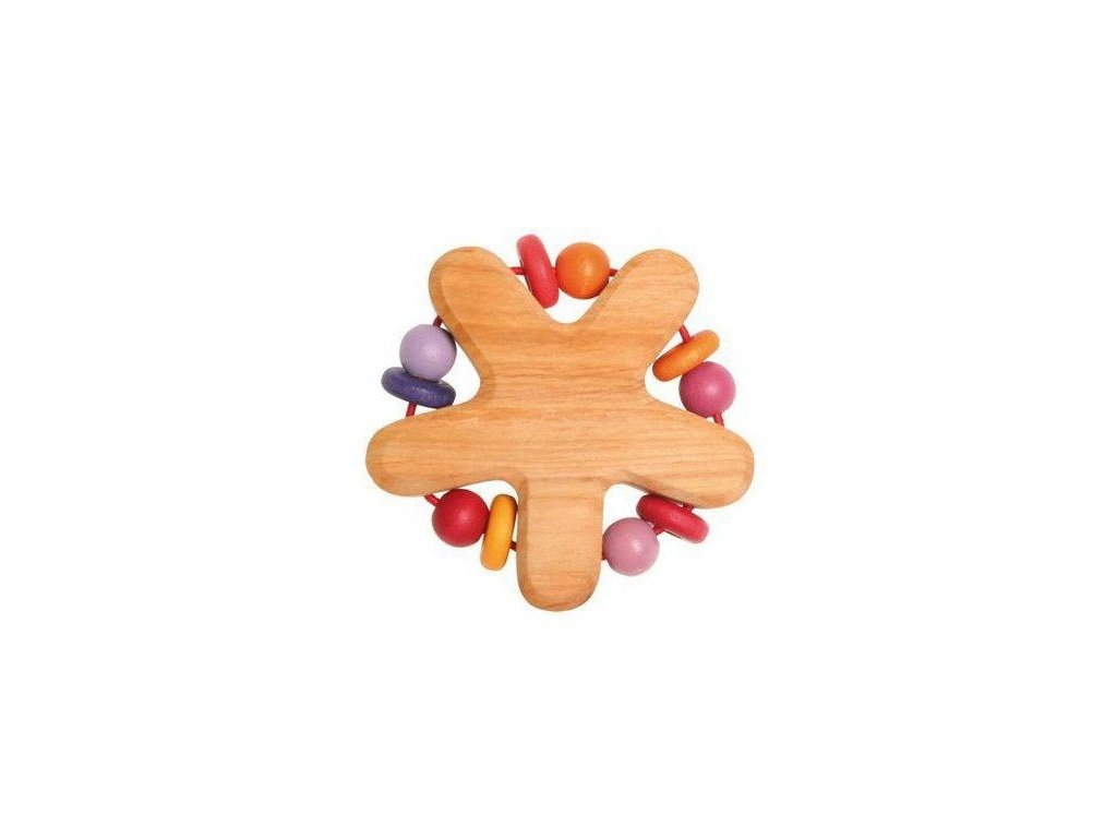 Dřevěné chrastítko hvězda - růžové a červené korálky