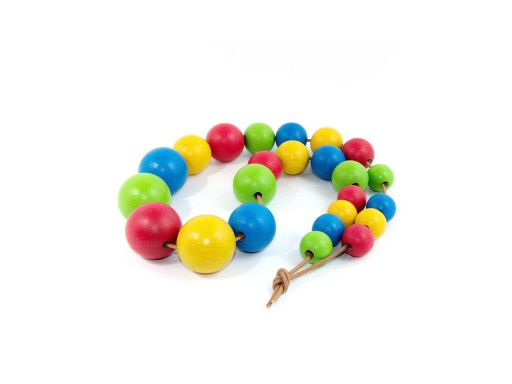Dřevěné barevné korále - 4 barvy, 24 ks