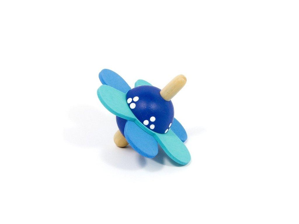 Dřevěná káča - Kytka modrá