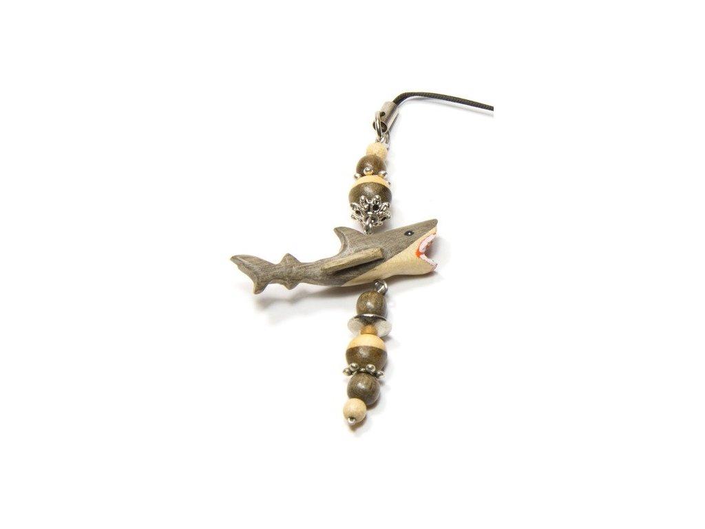 044 - Žralok - přívěsek na mobil (tropické dřevo)