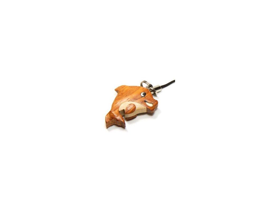 043 - Delfín - přívěsek na mobil (tropické dřevo)