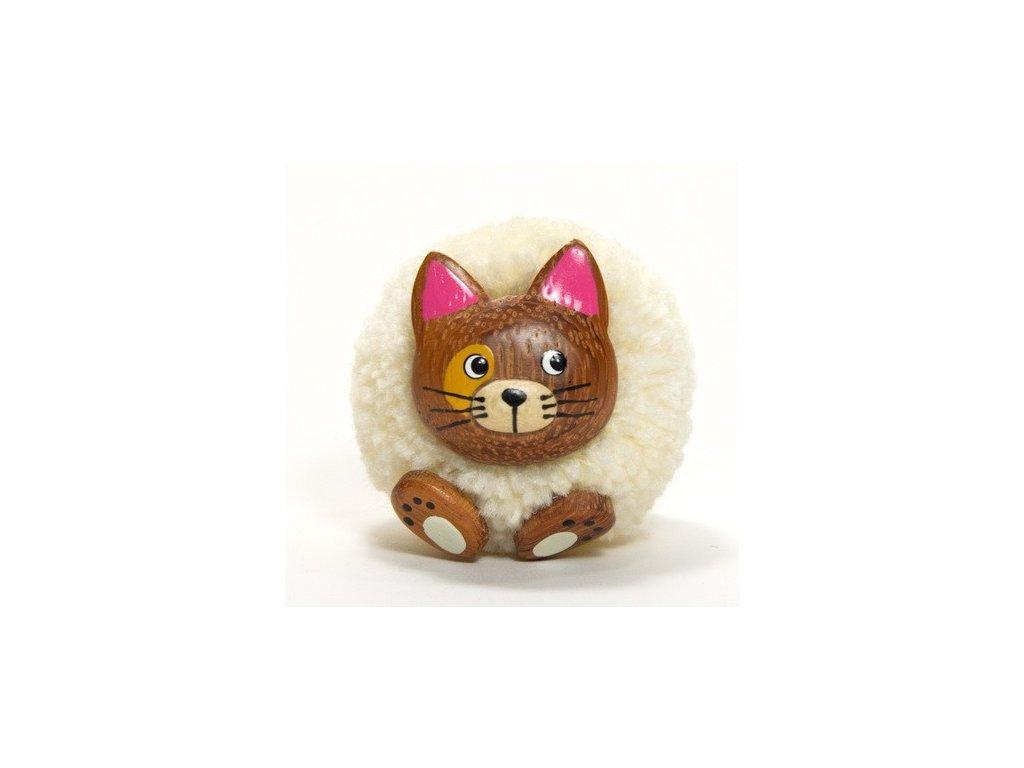042 - Kočička - magnetka (tropické dřevo)