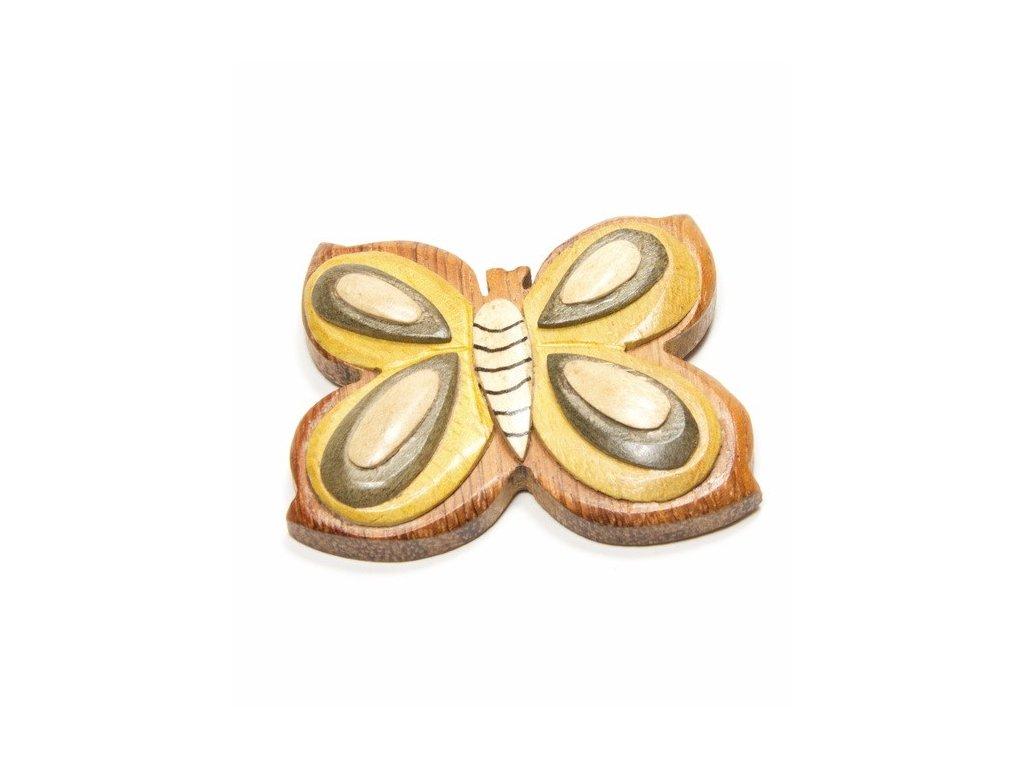 039 - Motýl – magnetka (tropické dřevo)