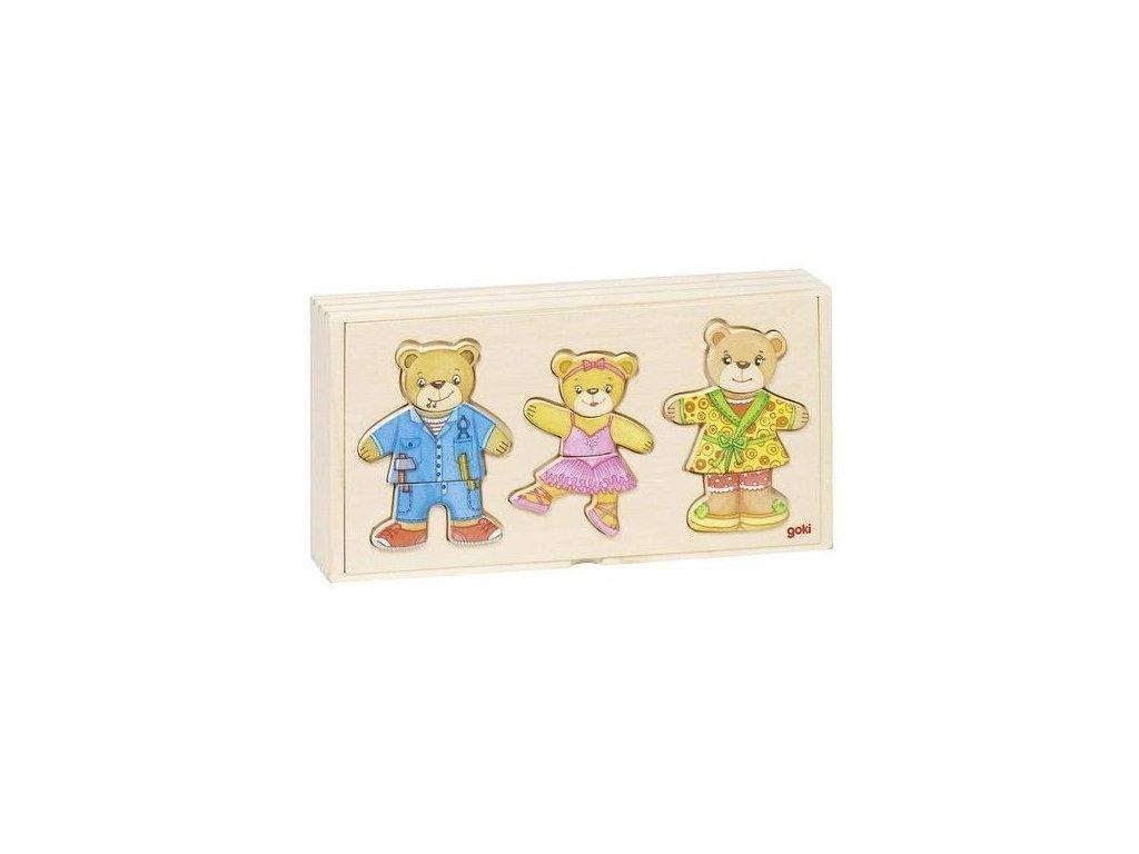 Rodina medvídci – oblékací puzzle ze dřeva