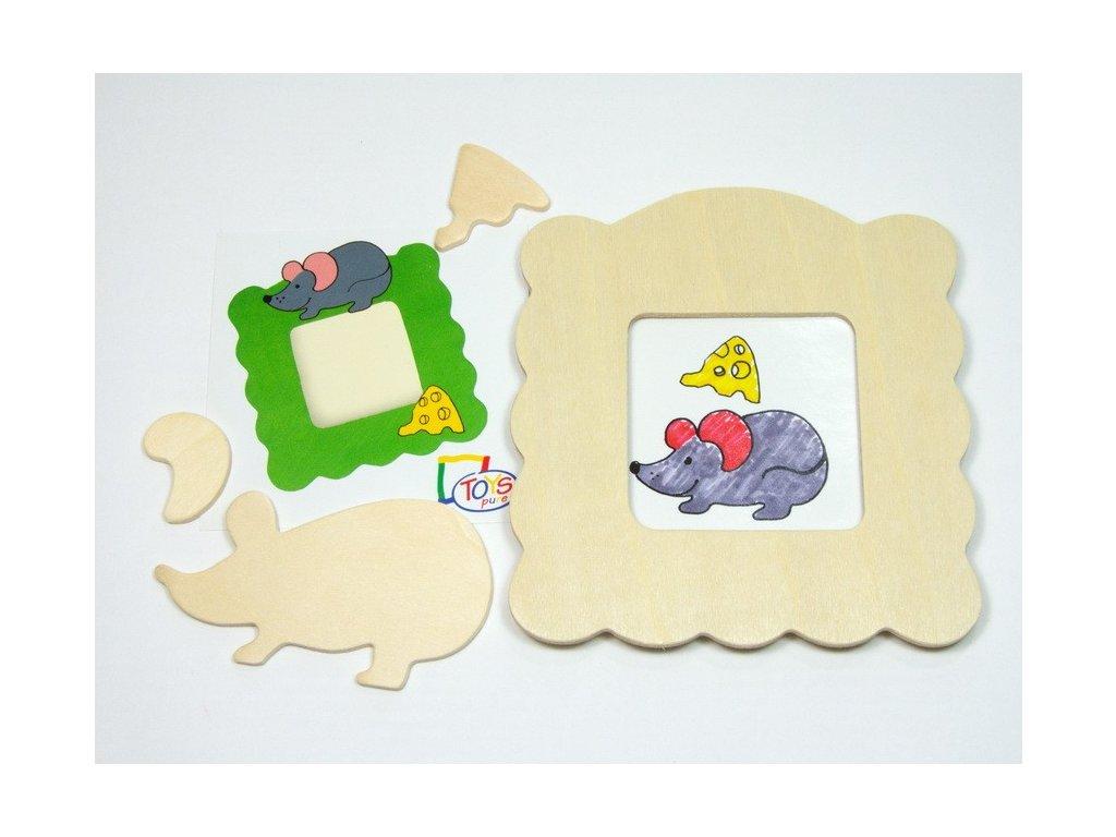 Myška - rámeček na foto k vymalování