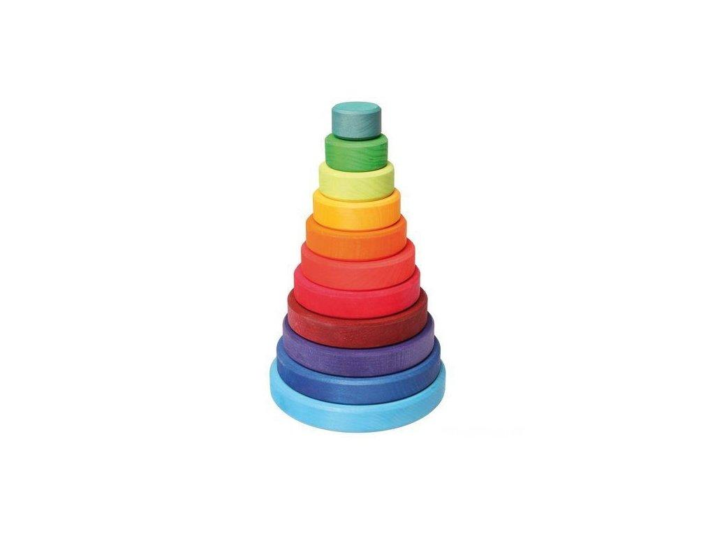 Dřevěná skládací pyramida velká, 10 dílů