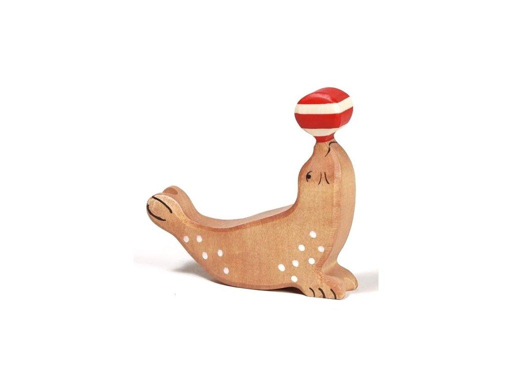 Tuleň s míčem – dřevěné zvířátko
