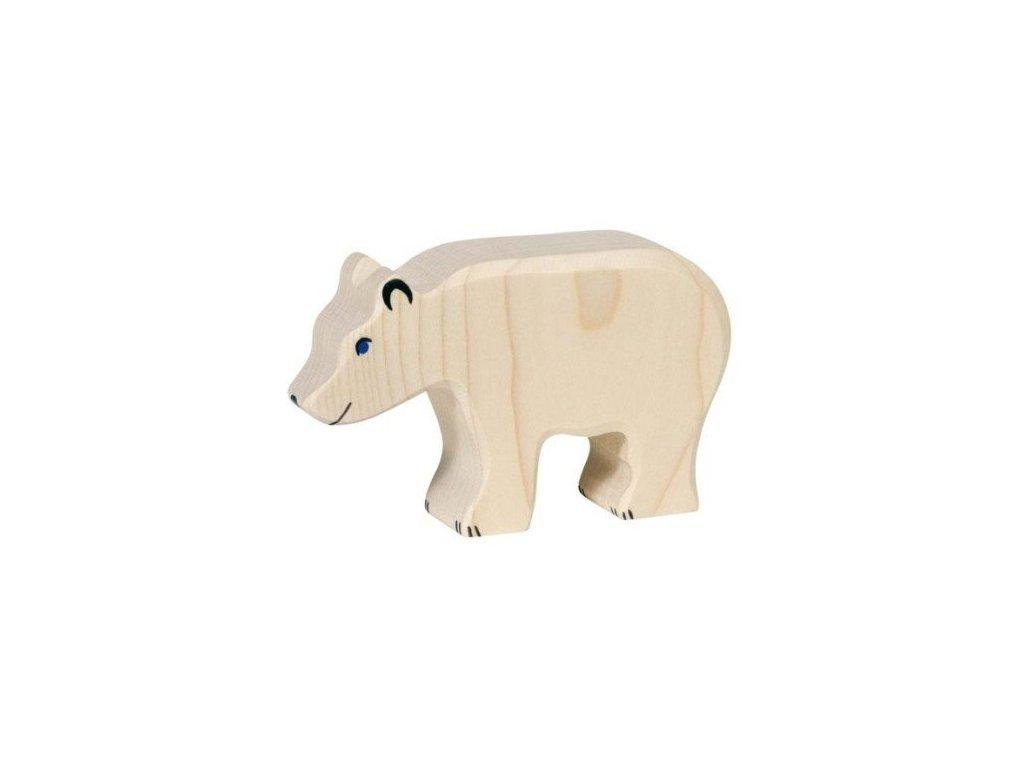 Medvěd lední krmící se – dřevěné zvířátko