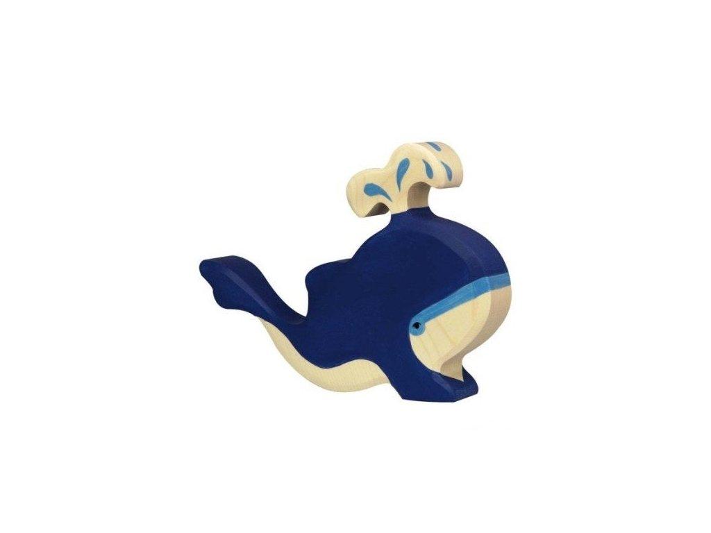 Velryba modrá s vodotryskem – dřevěné zvířátko