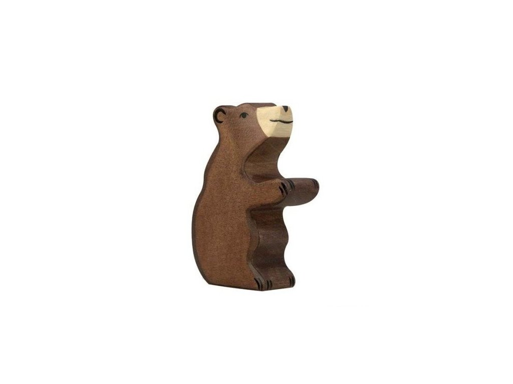 Medvěd hnědý, malý sedící – dřevěné zvířátko