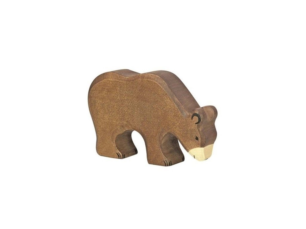 Medvěd hnědý, krmící se – dřevěné zvířátko