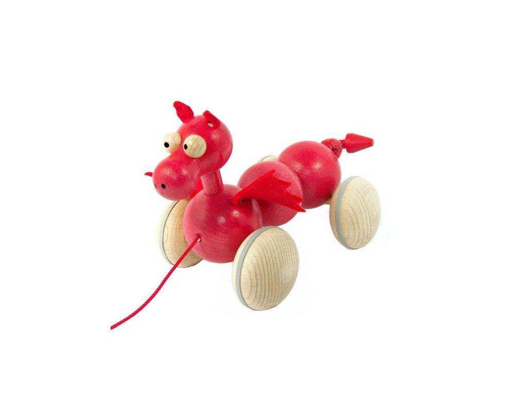 Dřevěný tahací drak červený