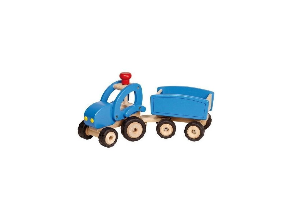 Dřevěné auto traktor s vlečkou, hračka pro kluky