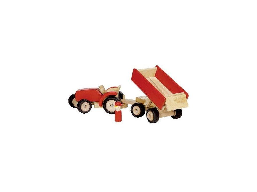 Červený traktor s vlečkou