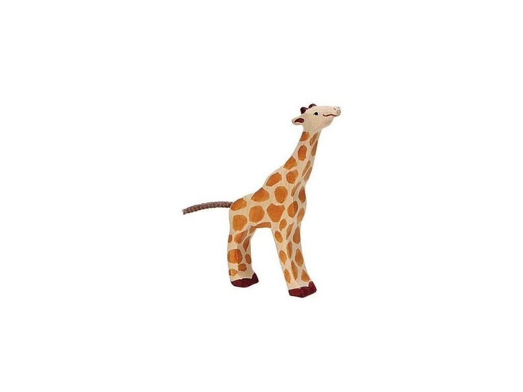 Žirafa malá, krmící se – dřevěné zvířátko