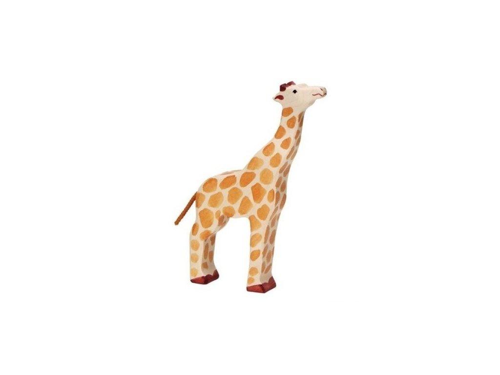 Žirafa se zvednutou hlavou – dřevěné zvířátko