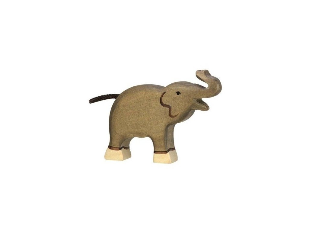 Slon malý se zvednutým chobotem – dřevěné zvířátko