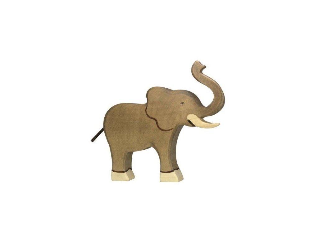 Slon se zvednutým chobotem – dřevěné zvířátko