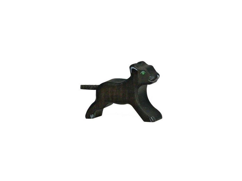 Levhart černý malý – dřevěné zvířátko