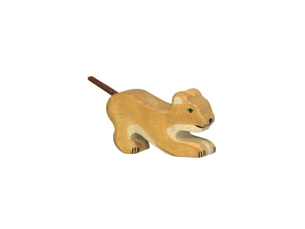 Lev malý, hrající si – dřevěné zvířátko
