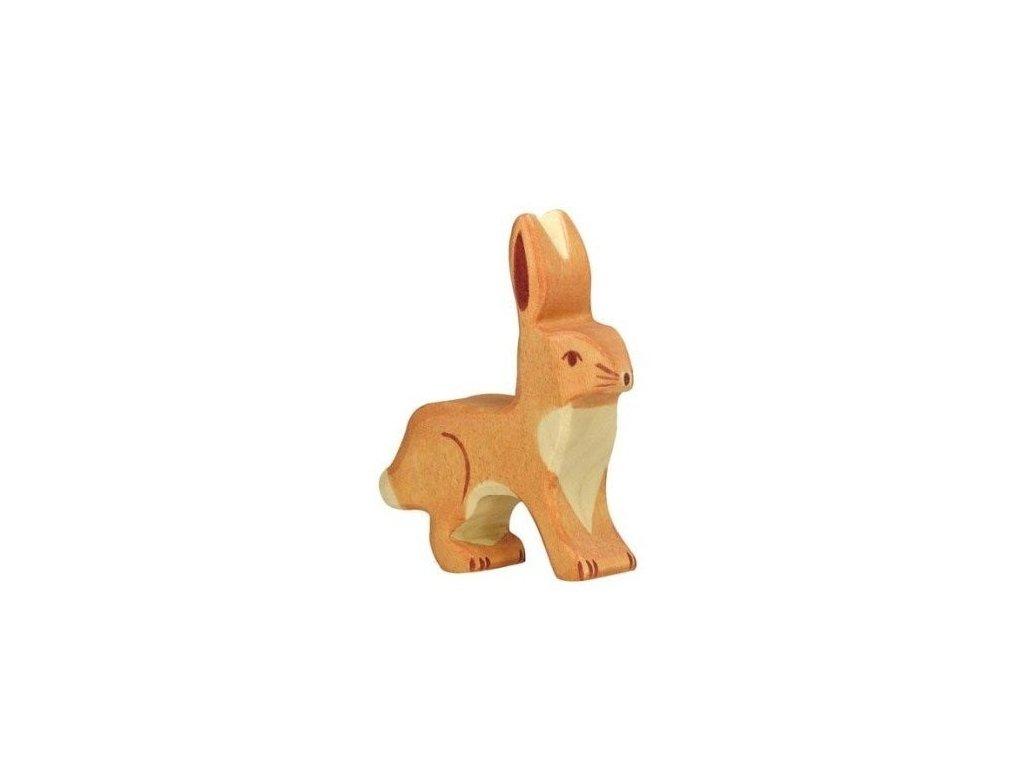 Zajíček s nastraženýma ušima – dřevěné zvířátko