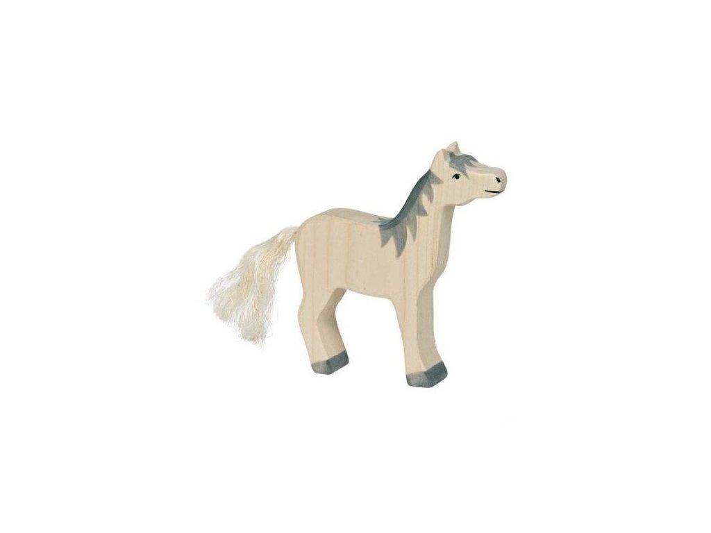 Koník bílý s šedou hřívou, se zdviženou hlavou – dřevěné zvířátko