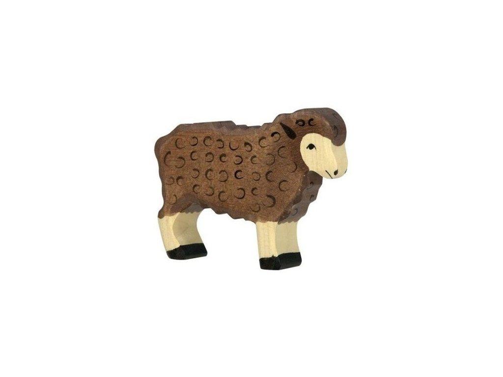 Ovečka stojící, tmavě hnědá – dřevěné zvířátko